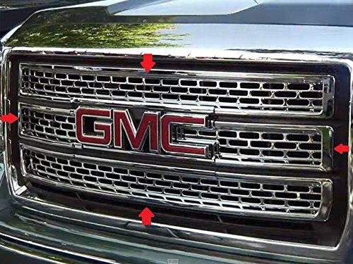QAA fits 2014-2015 GMC Sierra 4 Piece Chrome Plated ABS Plastic Grill Overlay SGC54281