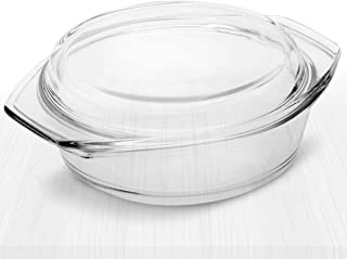 Simax Clear Round Glass Casserole | With Lid, Heat, Cold and Shock Proof, Made in Europe, 3.5 Quart