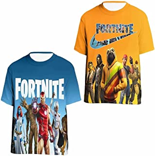 JUMFOURE 2 Pieces T Shirts Short Sleeve Tops Tee for Boys Girls Youth Ten 3D Printing Casual Crew Neck