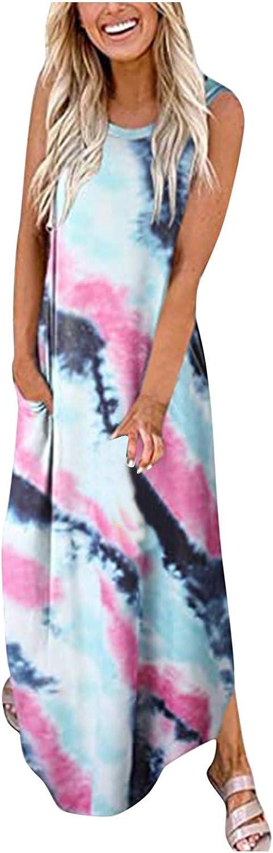 Summer Sun Dresses for Women Casual Loose Pocket Long Dress Sleeveless Split Maxi Dresses