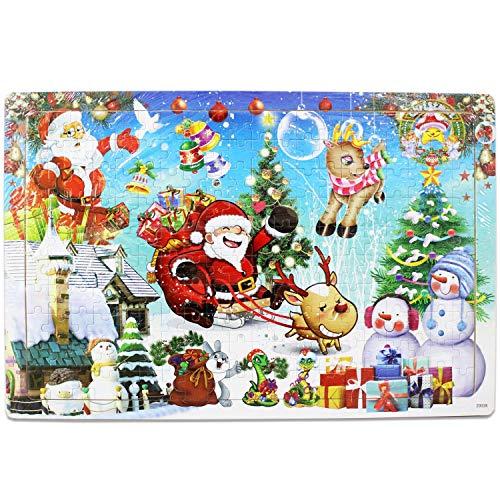 FunnyGoo Wooden 200 Piece Jigsaw Puzzle Merry Christmas Xmas Santa Gran Regalo para los niños