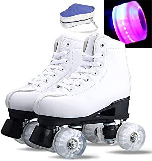 Double Row Skates for Beginner Toddler Youth And Adults Outdoor Sports Running Sneakers,White