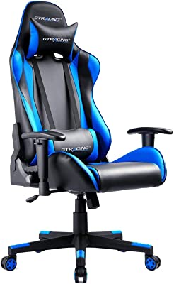 Gtracing ゲーミングチェア オフィスチェア デスクチェア ゲーム用チェア リクライニング パソコンチェア ハイバック ヘッドレスト ランバーサポート ひじ掛け付き 高さ調整機能 PUレザー ブルー GT002