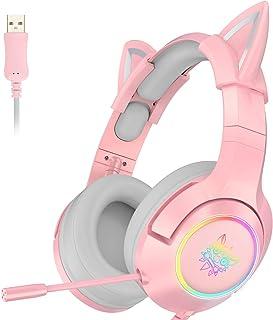 ONIKUMA Auriculares para videojuegos, color rosa, solo para PS4, PC, ordenador y portátil, con sonido envolvente virtual 7.1 y orejas de gato extraíbles, micrófono retráctil con cancelación de ruido, enchufe USB (sin enchufe de 3,5 mm)