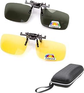 278b66d356 2 pares de gafas de sol Clip On Flip Up gafas de visión nocturna  antideslumbrante polarizadas