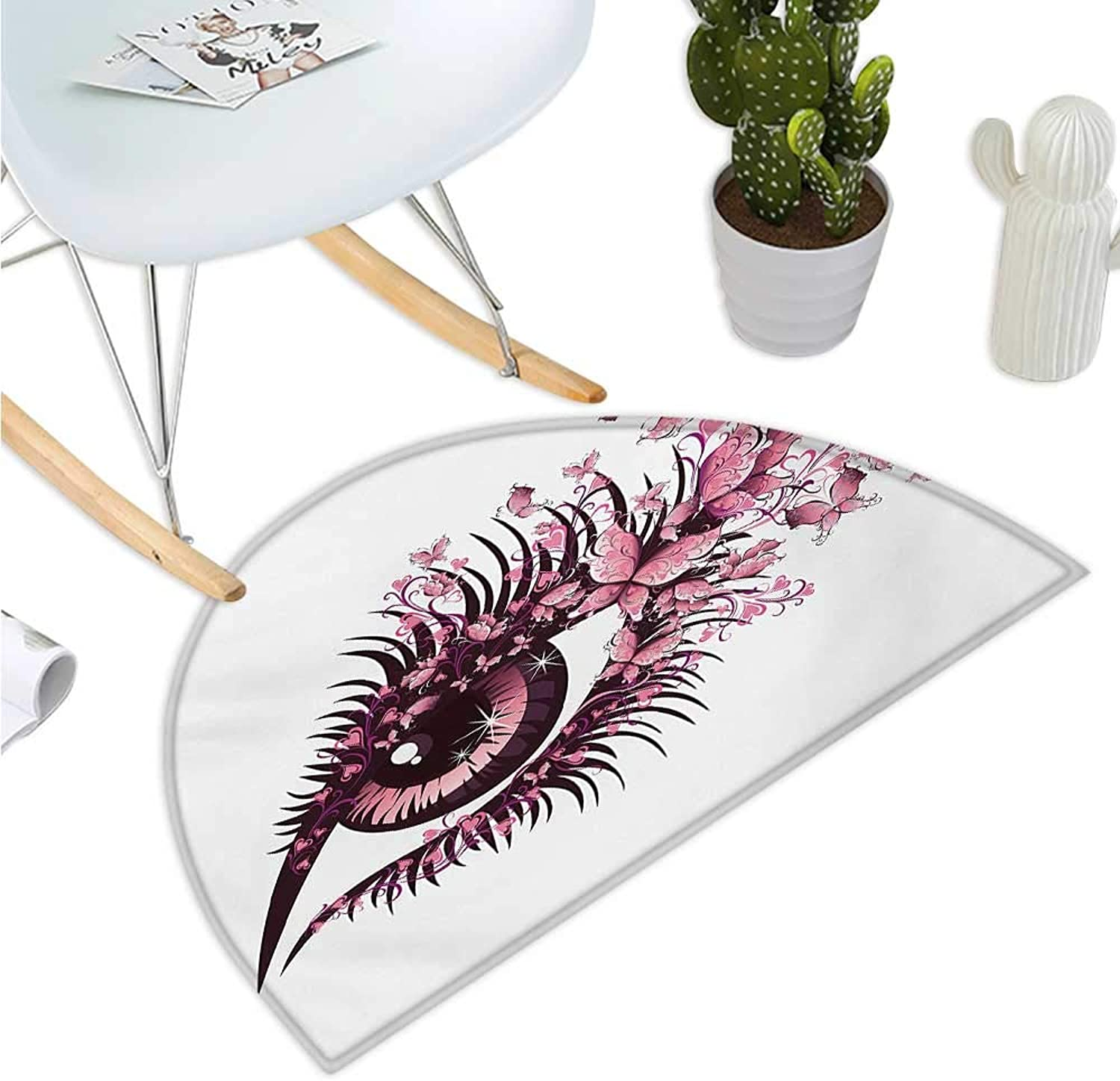 Butterflies Semicircle Doormat Fairy Female Eye with Butterflies Eyelashes Mascara Stare Party Makeup Entry Door Mat H 43.3  xD 64.9  Pale Pink Purple