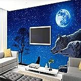 carta da parati murale blu scuro di albero stellato lupo per soggiorno camera da letto moderna semplice tv sfondo carta da parati carta da parati 3d-300 * 210cm