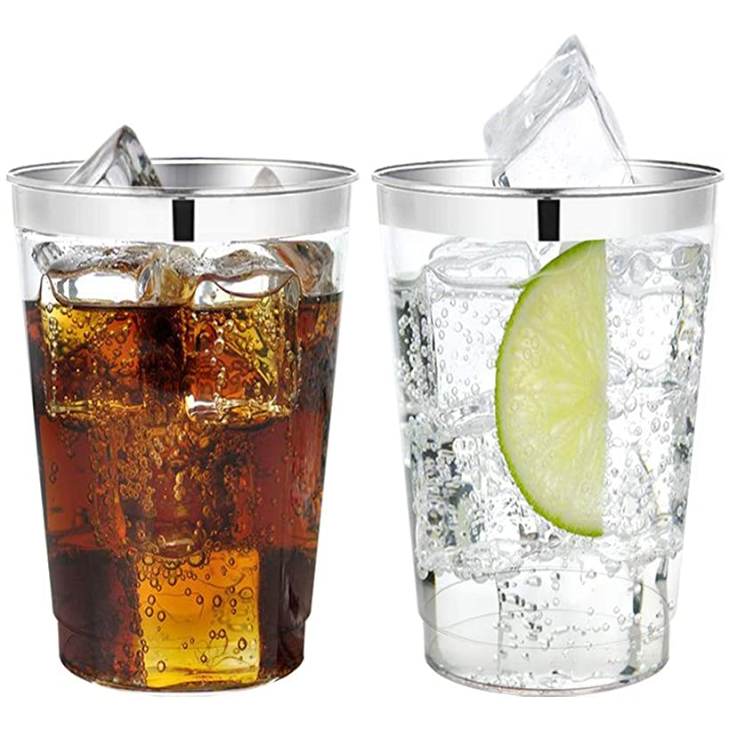 60 Piece 12OZ Silver Plastic Cups, Clear Disposable Tumblers, Wedding Silver Rim Cups for Party Holiday and Occasions