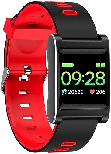 Fitness Tracker, bleutooth Sport Watch, imperméable à l'eau artérielle de fréquence Cardiaque Surveillance Sleep Smart Bracelet,rouge