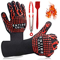 【 SUPREME QUALITY HEAT RESISTANT BBQ GRILL GLOVES 】- ENTIRE extreme heat resistant multipurpose oven gloves have all the qualities you need to protect you from extreme heat up to 932oF. EN407 Certified, these aramid and silicone kitchen gloves are pe...