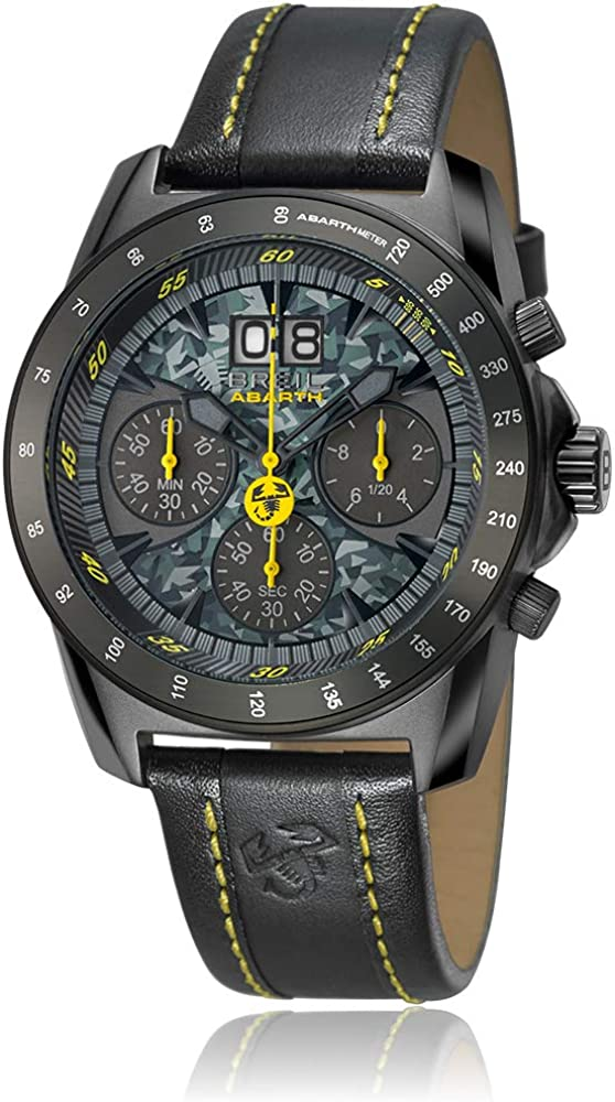 Breil,orologio,cronografo per uomo,cassa in acciaio ip nero,e cinturino in vera pelle al 100% TW1362