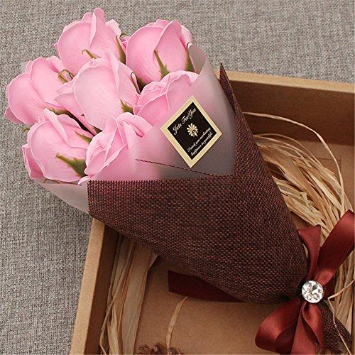 Zinsale 7Pcs Rose profumato decorazione sapone di fiori profumato per il bagno (Rosa)
