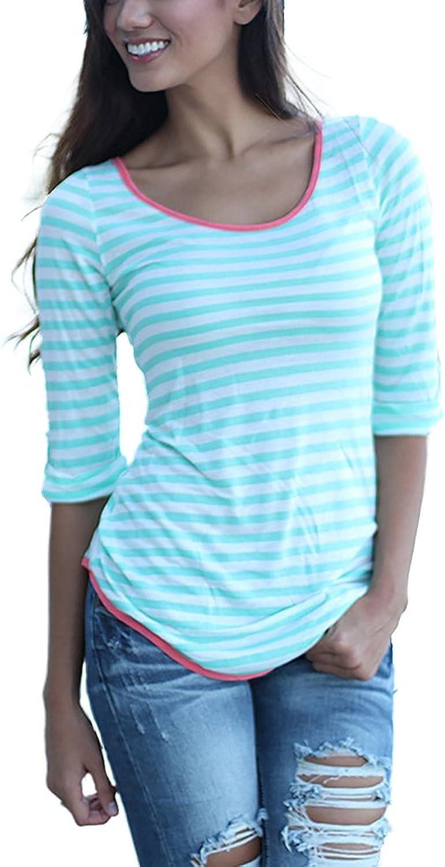 Honghu Women's Casual Classic Fitted Stripe Tshirt Top Tee