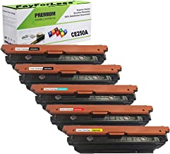Pay for Less CE250A CE251A CE252A CE253A 504A Toner Cartridge Replacement 5PK for HP Color Laserjet CP3520 CP3525 CP3525X CP3525DN CP3525N CP3530 CM3530 CM3530FS with Chip