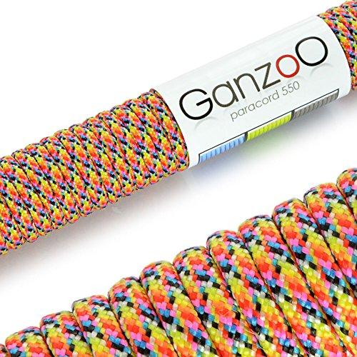 Ganzoo Corde de Parachute indéchirable paracorde 550 (Manteau noyau en corde en nylon), 550lbs, longueur totale 31 m (100 ft) couleur : jaune/bleu/noir/rose/rouge/gris/vert/orange – Ganzoo