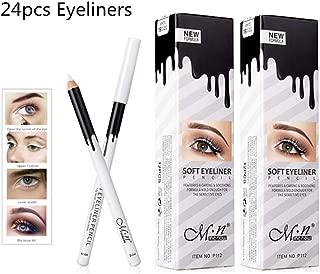 White Eyeliner Pencil Professional Highlighter Eye Liner Pen Soft Strokes Waterproof Long-Lasting Eyeshadow Eye Silkworm Brighten Pencil Beauty Makeup Tool, 24pcs