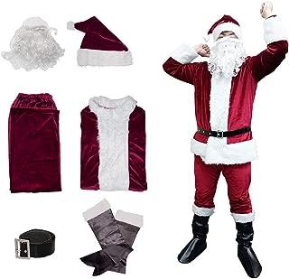 Christmas Santa Claus Suit, Adult Men's Santa Costume Beard, Xmas Classic Flannel Cosplay Clothes
