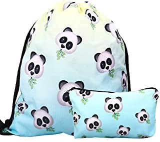 Lingpeng 2-piece set Waterproof Drawstring Bag for Girls,Print Backpack Travel Gym Bags(Panda)