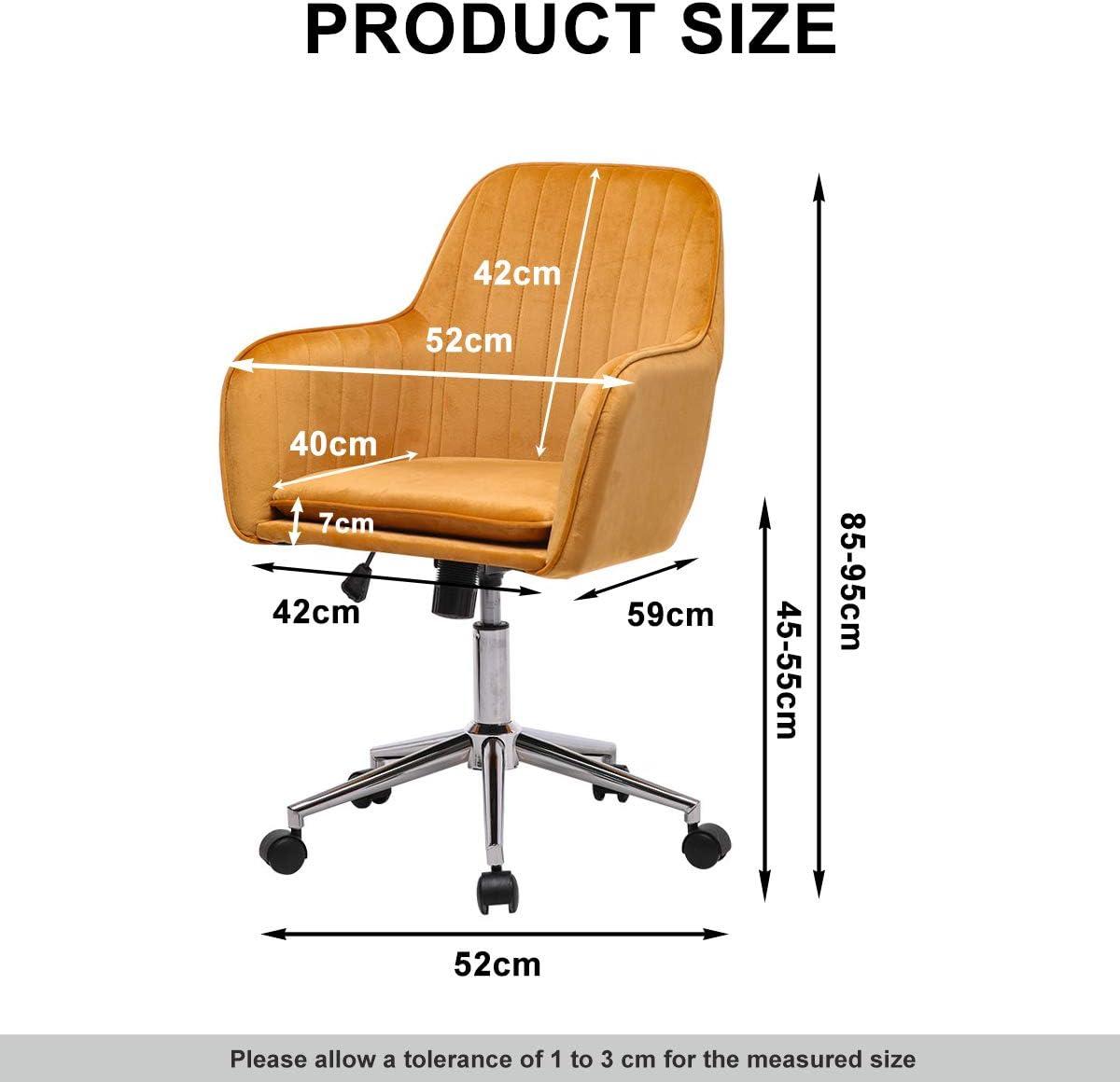 Black Black Velvet Office Chairs Ergonomic Desk Chair with Wheels 360/° Swivel Work Chair Height Adjustable Office Chair with Arms Computer Chair for Home Office