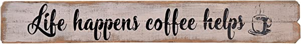 NIKKY HOME Life Happens Coffee Helps Rustic Farmhouse Wooden Wall Decorative Sign 32 09 X 1 1 X 4 53 Inches