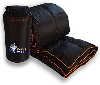 PUFFER WOLF   Extra Large Double Insulated Outdoor Camping Blanket   2X Puffy, Warm, Packable, Weatherproof, Durable, and Lightweight   Top Quilt for Hiking, Backpacking, Stadium Events, Picnic Use