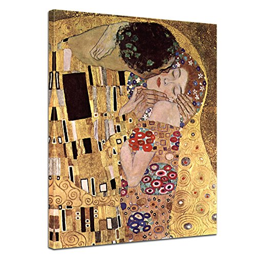 Leinwandbild Gustav Klimt Der Kuss - 50x70cm hochkant - Wandbild Alte Meister Kunstdruck Bild auf Leinwand Berühmte Gemälde
