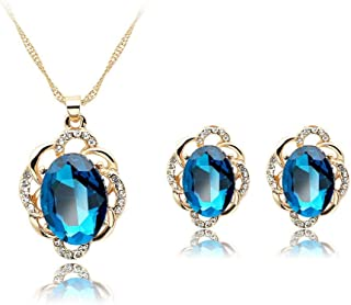 Luxurious Blue Rhinestones Alloy Necklace Earrings Pendant Jewelry Set