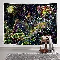抽象的な女の子の花の壁掛けタペストリーのリビングルームの寝室の寮の家の装飾 721 (Color : 2TGTZYAY52, Size : 203x152cm)