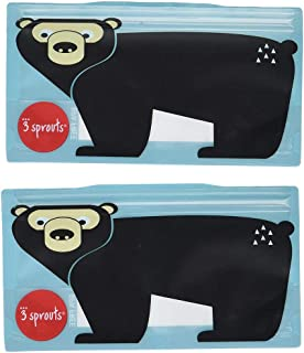 3 Sprouts Snack Bag Reusable and Washable Travel Food Bags for Kids Lunch 2 Pack, Teal, Bear
