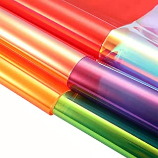 "AOUXSEEM Transparent Holographic Faux Leather Sheets Iridescent PVC Sheets 6 Pcs 8"" x 12"" (21cm x 30cm) for DIY Bows Earrings Bags Making"