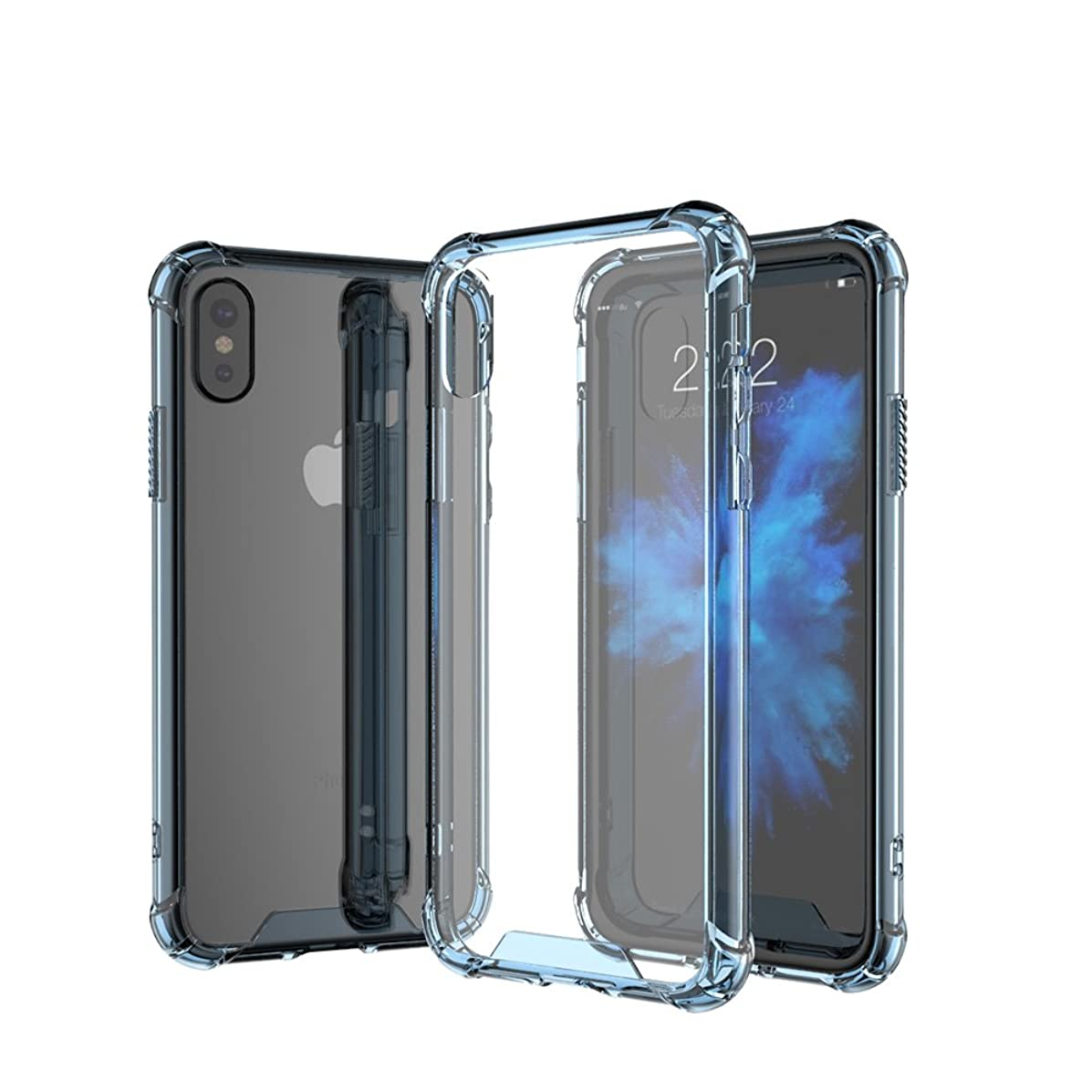 Transparent Clear iPhone X case,Soft Flexible Ultra Thin TPU with Colored Bumper Protective Cover for Apple iPhone 10 Case Support Wireless Charging by Ontrip (Blue)