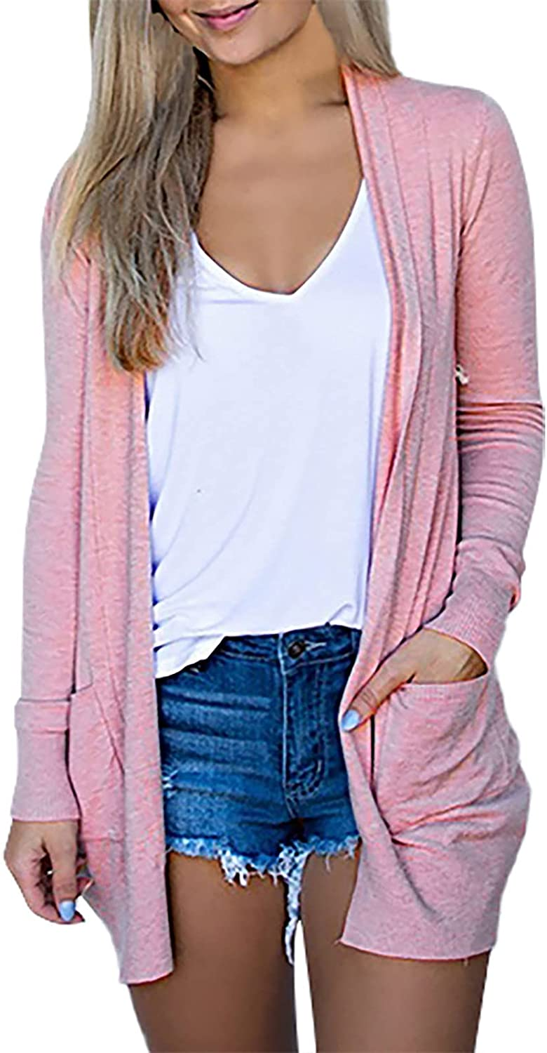 Cardigan for Women Ladies Casual Solid V-Neck Coats Long Sleeve Comfort Pockets Outerwear