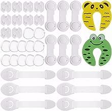 Rovtop 36 Pcs kit de Seguridad para Bebés, 12 Protectores de Esquina de Silicona, 6 Cierres de Armario, 6 Cerraduras de Cajón, 2 Clips de Puerta, 10 Cubiertas de Protección de Socket
