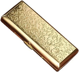 WSJTT Cigarette Case,Classic Metallic Stainless Steel Color Sided Portable Anti Pressure Cigarette Case Etched Design (Color : Gold)