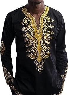 Bbalizko Mens Dashiki African Print V Neck Shirt Loose Tops Plus Size