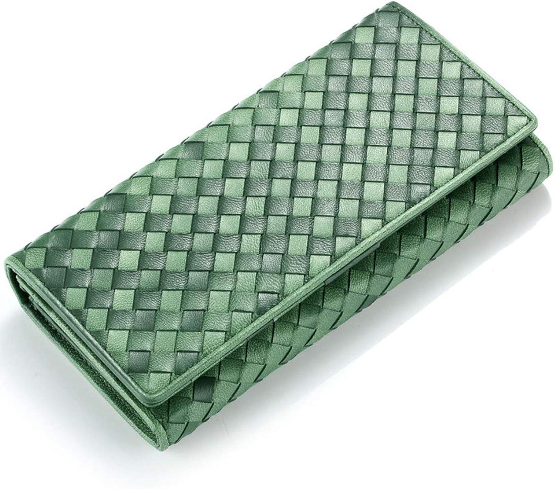 CEFULTY Leather Ladies Wallet Sheepskin HandWoven Bag Threefold Ladies Wallet (color   Green)
