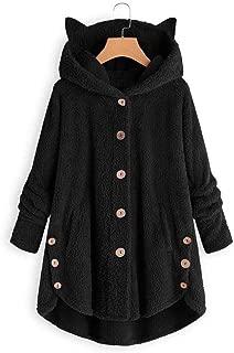 neveraway Women Fall Winter Sherpa Lined High Low Hood Plus-Size Wool Coat