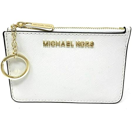 Michael Kors Jet Set Travel Small Top Zip Coin Pouch with ID Holder in Saffiano Leather (Optic White)