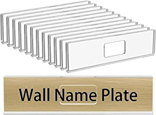 NIUBEE 12 Pack Acrylic Wall Name Plate Holder 2x8 Inch,clear Plastic Sign Holder 2x8 Horizontal With 3M Adhesive Tapes,Doo...