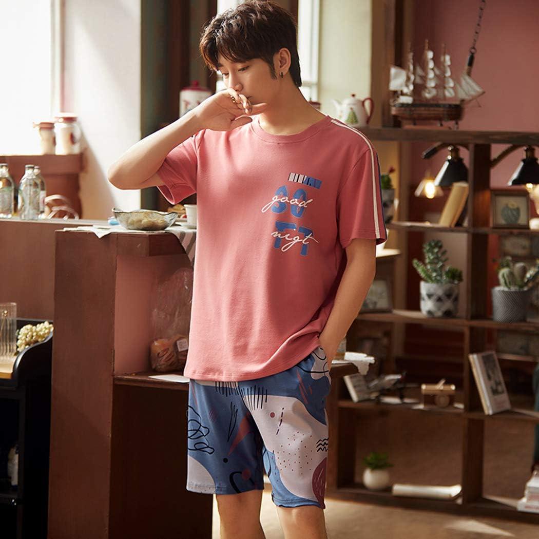 XMZFQ Mens Pyjama Set Summer 100% Cotton Sleepwear Short Sleeve and Shorts Set with Fashion Design Korea Lounge Wear Homewear Nightwear, Gifts for Men,L