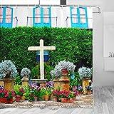 España Palacio de Viana Cordoba Cortina de ducha Viaje Decoración de baño Set con ganchos Poliéster 72x72 pulgadas (YL-05394)