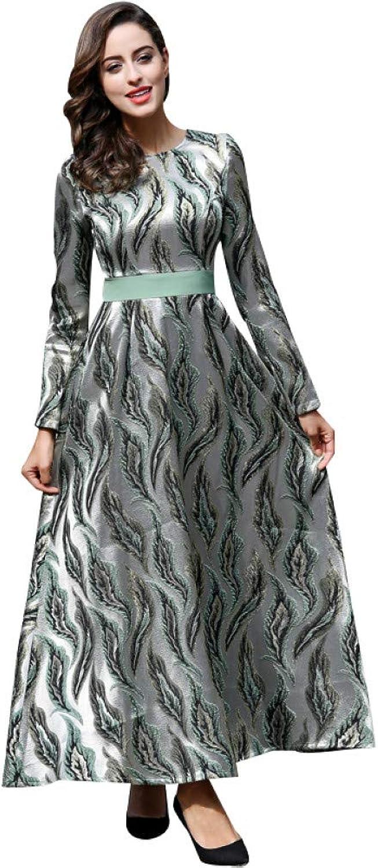 QAQBDBCKL Quality Embroidery Luxury Long Dress Women Long Sleeve Vintage O-Neck Plus Size Maxi Party Dresses Long Robe