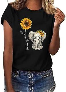 Donna Maniche Corte,Maglietta Manica Corta Donna T-Shirt Estivi 2021 Economia Casual Stampa ECG- Camicia T-Shirt Divertent...