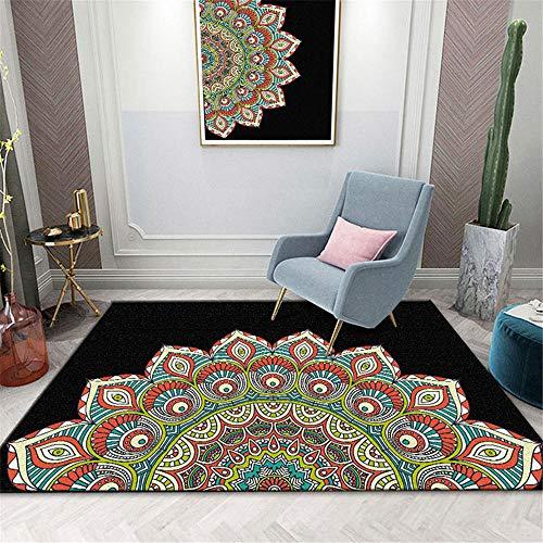 RUGMYW Multifunción alfombras de habitacion Estampado Retro clásico Negro Rojo Amarillo Beige Azul Verde Alfombra Infantil 80X160cm