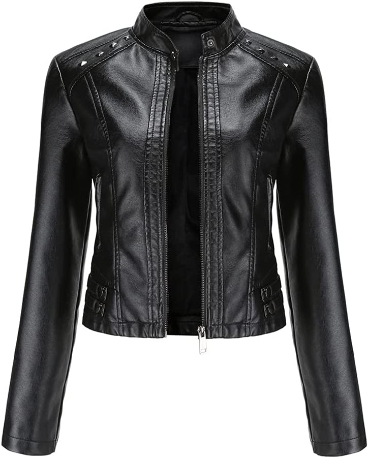 JJZXC Short PU Leather Jacket Women Rivet Spring Autumn Women's Coat Long Sleeve Slim Casual Jacket Stand Collar (Color : Black, Size : 2XL code)