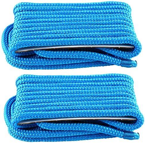 YaeMarine 2 Pack 3 8 Inch 20 FT Double Braid Nylon Dockline Dock Line Mooring Rope Blue product image