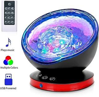 Ocean Wave Projector, Night Light Lamp with Adjustable Lightness Remote Control Timer 8 Lighting Modes Music Speaker Light Show LED Night Light Projector Lamp for Baby Kids Adult Bedroom Living Room …