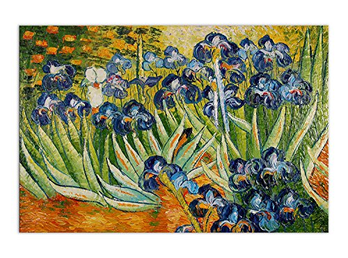World Art Van Gogh Iris Cuadro Pintura Al Oleo, Madera, Multicolor, 90x60x2 cm