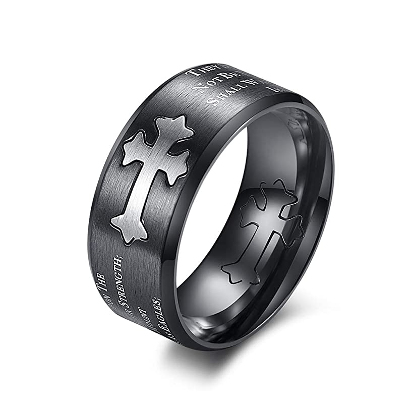 JF.JEWELRY 9mm Stainless Steel Christian Religion Ring Men Bible Verse Isaiah 40:31,Size 7-12