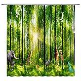 Leona Chesterton Zoo Dekor Duschvorhang Grüne Bäume Wiese Elefant Giraffe Zebra Pfau Sonnenlicht Wald Party Stoff Bad Gardinen Wasserdichtes Polyester mit Haken